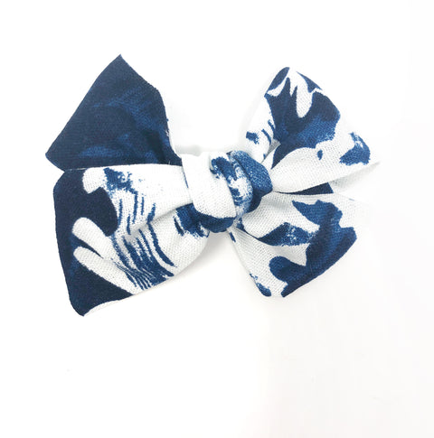 Handmade Linen Bow // Blue Ink Floral