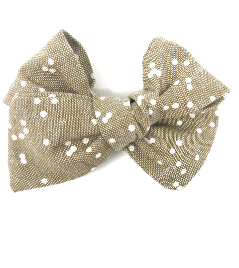 Handmade Linen Bow // Speckled Taupe