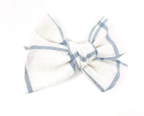 Handmade Linen Bow //  Baby Blue Check