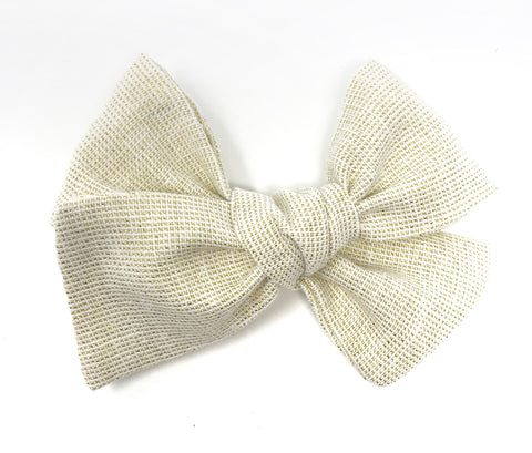 Handmade Linen Bow // Ivory Sparkle in Gold