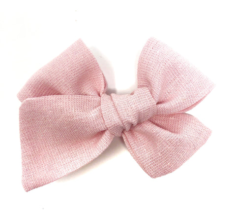 Handmade Linen Bow // Pretty in Pink Sparkle