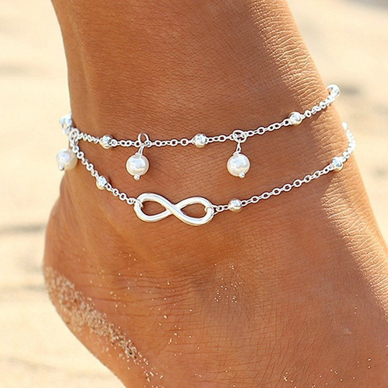 The Infinity Pearl Anklets