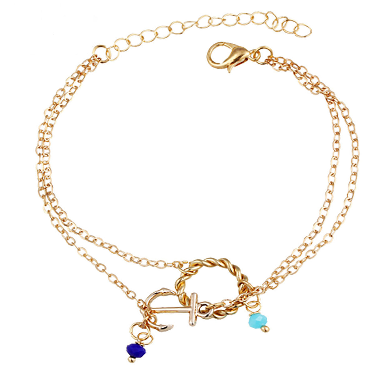 sizes anklet in yellow gold anchor