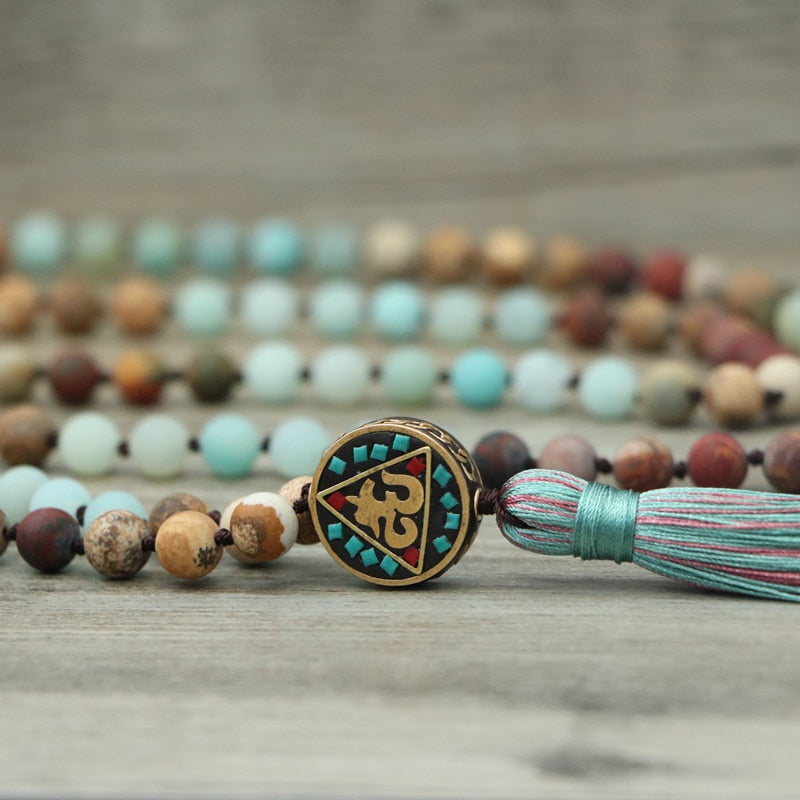 Blue Mantra Necklace