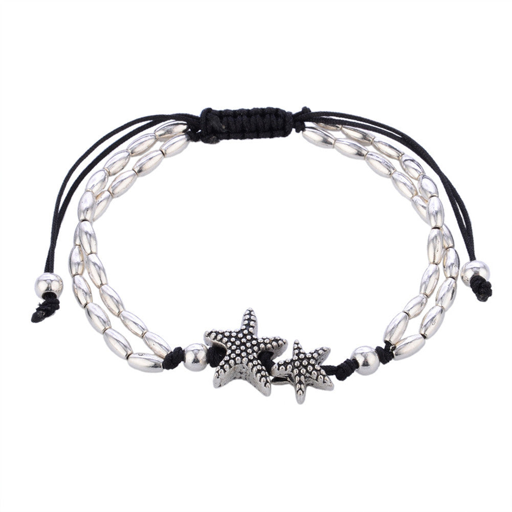 Starfish Rope And Silver Beads Bracelet