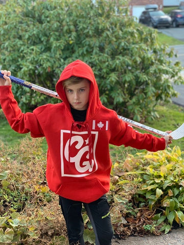 Chilly Gear Red Canada Hoodie with Red Laces