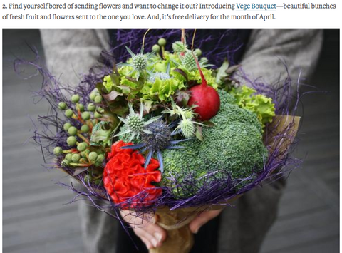 Urbanlist Foodie and Vegetable bouquet