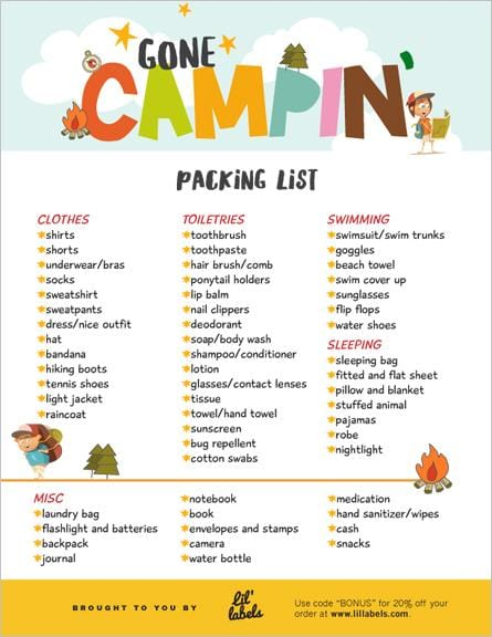 Summer Camp Packing List Lil Labels