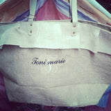 Monogrammed jute Ruffle Tote Over sized Beach Bag