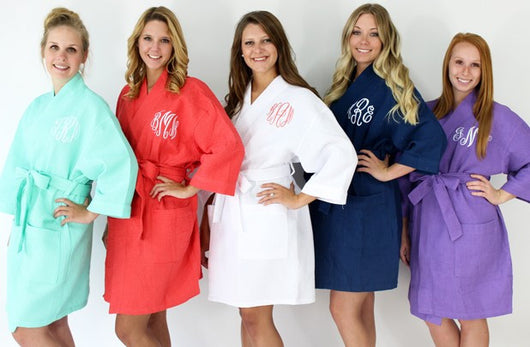 Monogrammed Personalized Waffle Robes Wedding Day or Special Occasion Gift for Her or Him