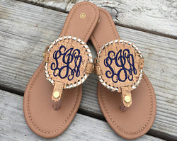 Monogrammed Embroidered Sandals
