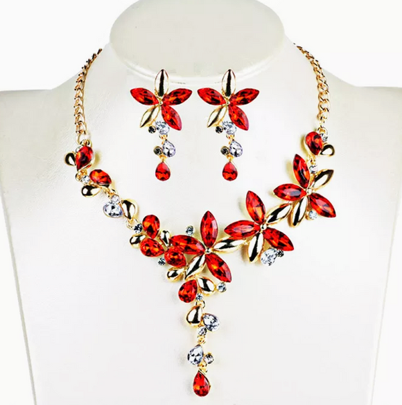 Flowered Necklace & Earring Set