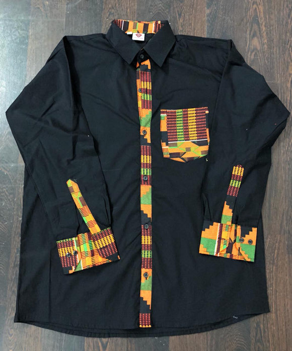 Kente Trim Button Down