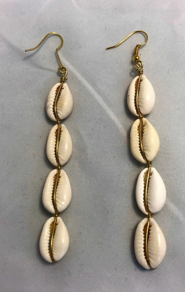Cowrie 4 Shell Earrings