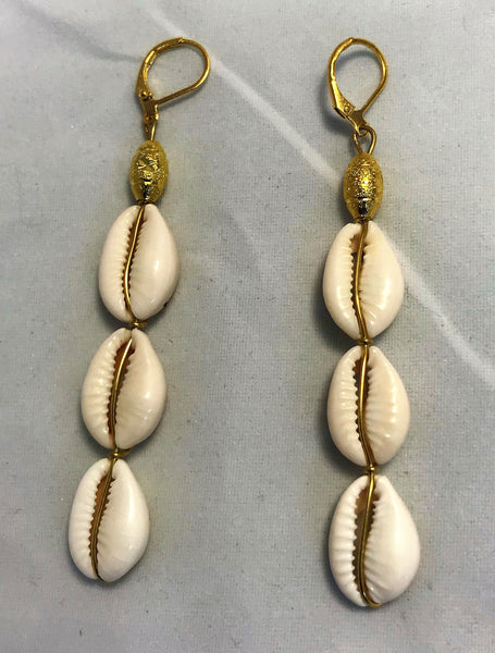 Cowrie 3 Shell Earrings