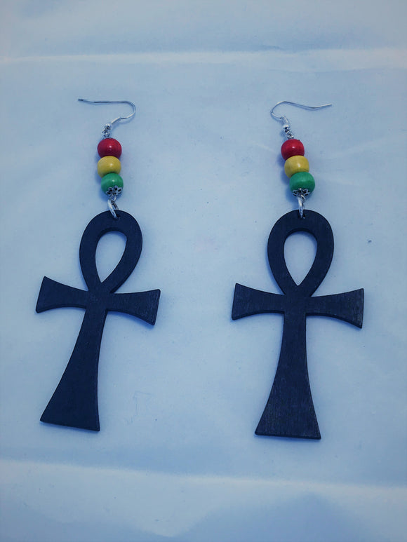 Tri-Color Ankh Earring