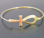 Gold Toned Ankh Bangle