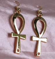 Gold Toned Ankh Earrings