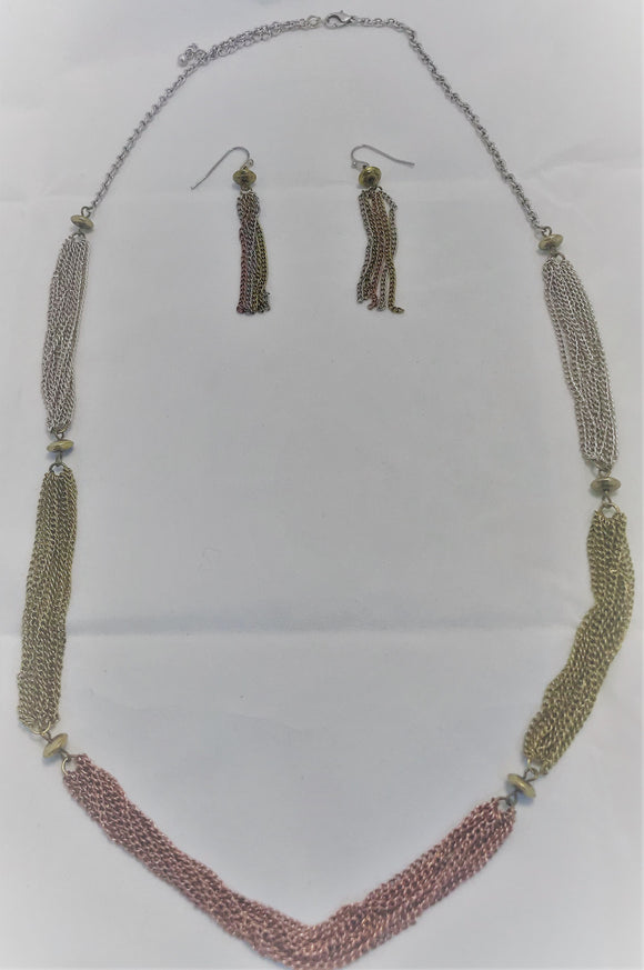 Tri-Tone Necklace & Earrings