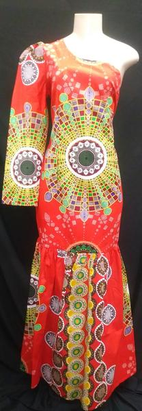 One Shoulder Fitted Ankara Trumpet (Orange)
