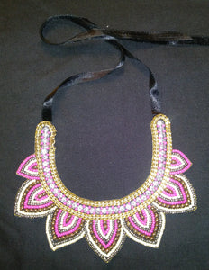 Pink and Gold Tribal Necklace