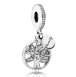 Sterling Silver Family Heritage Tree Of Life With Crystal Pendant Bead