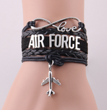 Leather Rope Air Force Charm Bracelet