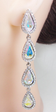 Cubic Zirconia 4 Teardrop Bride Earrings