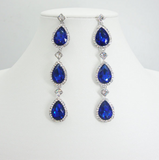Deep Blue Crystal Rhinestone Multi Drop Earrings