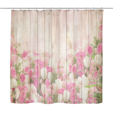 Pink Tulips Wood Look Shower Curtains