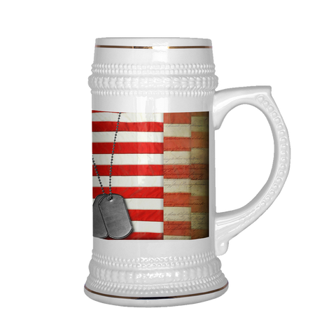 22oz Gold Trimmed Flag and Tags 22oz Stein