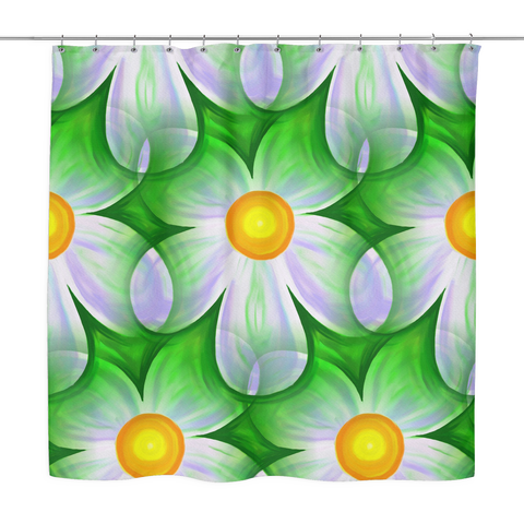 Green Floral Art Shower Curtain