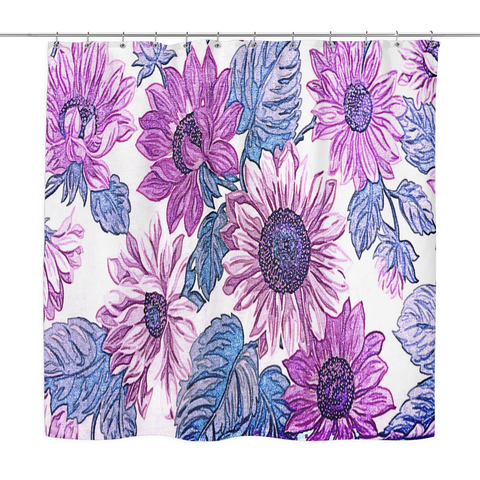 Purple Textured Flowers Shower Curtain