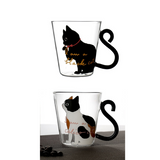 Black Cat or Calico Kitty Cat Glass Mug Tea, Milk, or  Coffee Cup