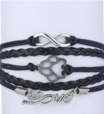 Infinity Love Dog/Cat Paw Print Bracelet Lover Wrap Bracelet