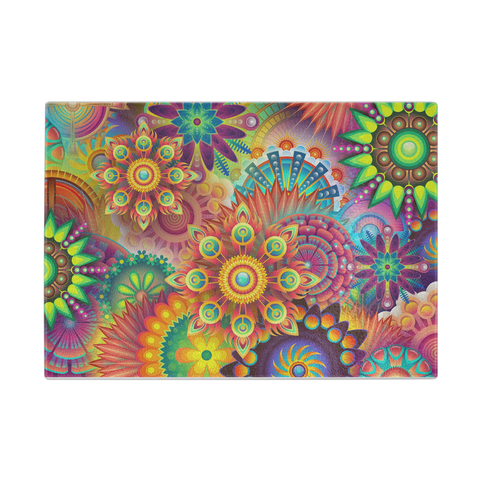Colorful Abstract Glass Cutting Board