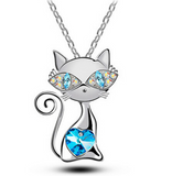 Gold plated AAA Rhinestones Crystal Cat Pendant Necklace Fashion Jewelry FREE + SHIPPING