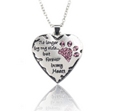 "No longer be my side but forever in my heart"" Crystal Cats Dogs Paws Claw Print & Heart Necklace"