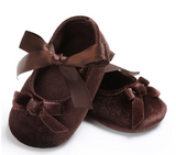 Princess Style Bow Knot Silk Ribbon Soft Soled Footwear