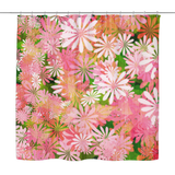 Blue/Pink Botanical Wood Look Shower Curtain