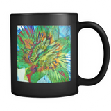 11 oz. Ceramic Black Mug Abstract Flower