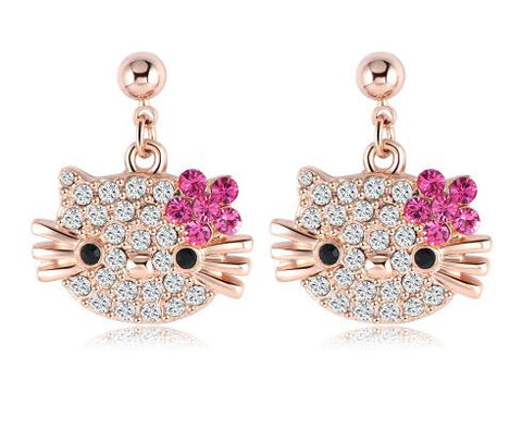 Lovely Cat Flower Rose Gold Plated Austrian Crystal Kitten Earings for Women/Girls