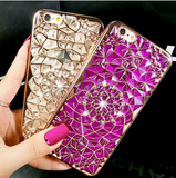 Luxury 3D Electroplating Flowers Rhinestone Bling iPhone Cover FREE + SHIPPING