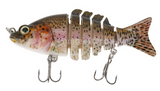 "3.5"" Fishing Lure Multi Jointed (6 segment) 3D Eyes Swimbait Life Like Sinking Bass Fish Hard Bait"
