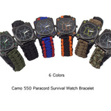 Survival Camping Paracord Watch with Compass Whistle Fire Starter
