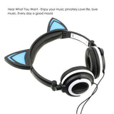 Flashing Glowing Cat Ear Video Gaming Headset Hi-Fi Stereo Mp3 Music Player Walkman Earphone