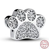 Sterling Silver Paw Prints Charm Fits Pandora Bracelet Bangle