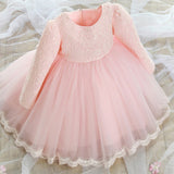 1 Long Sleeve Baby Girl Princess Lace Tutu Dress