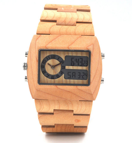 Hottest Men's Analog Digital Double Movement LED Wood Watch