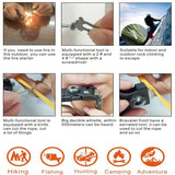 15 in 1 Flint Fire Starter/Whistle Outdoor Camping Survival Gear Buckle Travel Kit Equipment, Paracord Rescue Rope Escape Bracelet